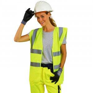 JAUNE - Gilet Haute visibilité professionnelle de travail mixte logistique chantier transport artisan
