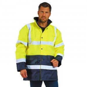 JAUNE/MARINE - Veste de sécurité Haute visibilité professionnelle de travail homme transport chantier logistique artisan