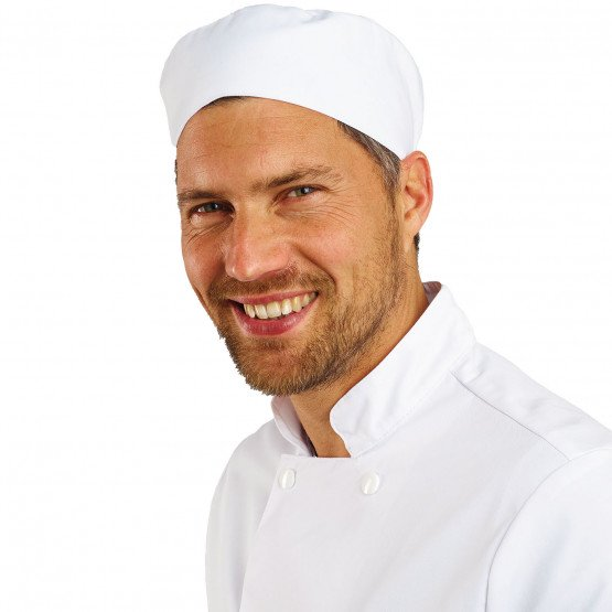 BLANC - Calot professionnelle de travail serveur restauration cuisine hôtel