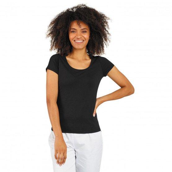 NOIR - Tee-shirt professionnelle de travail à manches courtes femme foyer entretien esthéticienne aide a domicile
