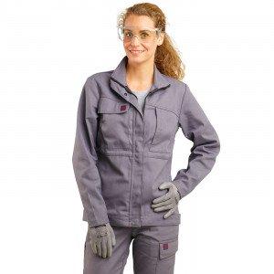 GRIS - Veste de travail professionnelle à manches longues femme manutention chantier transport artisan