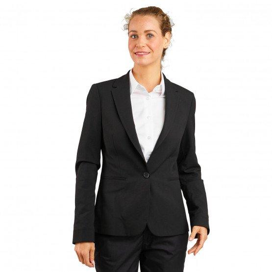 NOIR - Veste de service professionnelle de travail femme serveur restauration cuisine restaurant