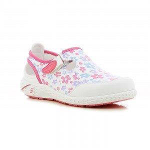 FLEURS - Chaussure professionnelle de travail blanche en cuir ISO EN 20347 femme auxiliaire de vie médical aide a domicile infir