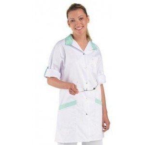 Blouse professionnelle travail blanche manches transformables femme - PROMO infirmier auxiliaire vie creche bac pro - PRUNILLE/L