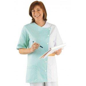Tunique professionnelle travail blanche manches courtes femme - PROMO auxiliaire vie infirmier aide domicile medical