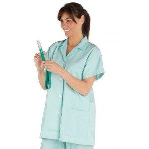 Tunique professionnelle travail blanche manches courtes femme - PROMO aide domicile medical auxiliaire vie infirmier - VERT