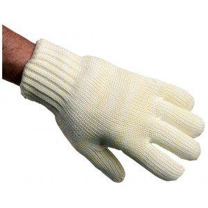 Gant alimentaire professionnel travail Nomex tricote lourd EN 407 (Protection contre chaleur feu) cuisine boulanger foyer - BLAN
