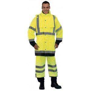 Ensemble pluie securite professionnel travail Enduit polyurethane EN 471 (Vetement haute visibilite) - PROMO artisan transport -