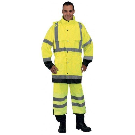 Ensemble pluie securite professionnel travail Enduit polyurethane EN 471 (Vetement haute visibilite) - PROMO transport artisan -
