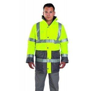 Parka Haute Visibilite 3--1 professionnelle travail Enduit polyurethane impermeable fluorescent EN 471 (Vetement haute - JAUNE/G