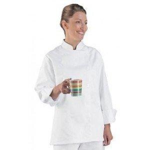 Veste cuisine professionnelle travail manches longues 100% coton femme - PROMO serveur boulanger creche apprentis - BLANC