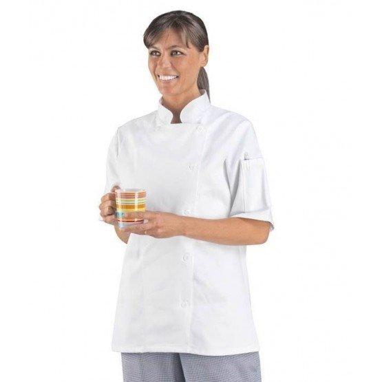 Veste cuisine professionnelle travail manches courtes 100% coton femme - PROMO restaurant traiteur internat apprentis - BLANC