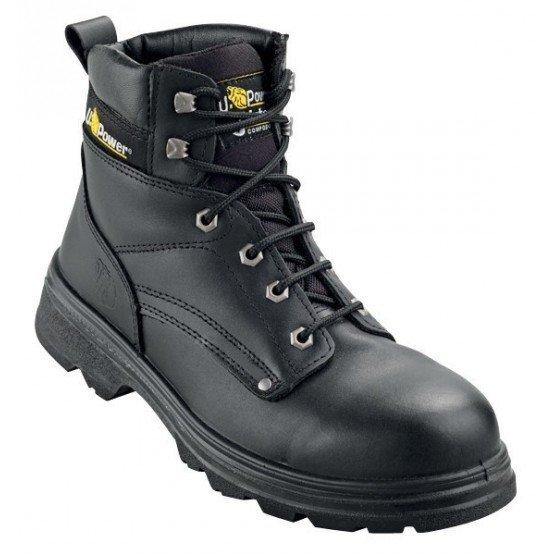Brodequin securite S3 professionnel travail noir cuir ISO EN 20345 S3 homme - PROMO transport chantier logistique artisan - NOIR