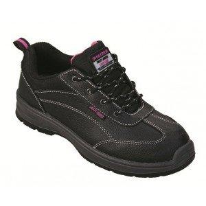 Chaussure securite professionnelle travail noire cuir ISO EN 20345 S3 femme artisan entretien chantier menage - NOIR