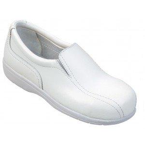 Chaussure cuisine securite S1 professionnelle travail blanche cuir ISO EN 20345 SB femme cuisine restauration hotel restaurant -