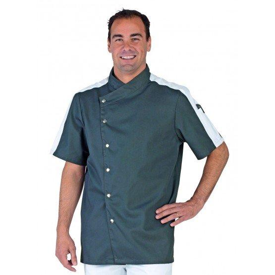 Veste cuisine professionnelle travail manches courtes homme - PROMO restauration hotel serveur restaurant - ARDOISE/BLANC