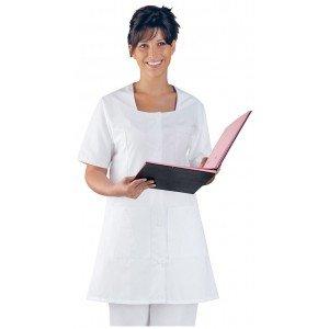 Blouse professionnelle travail blanche manches courtes femme - PROMO aide domicile medical auxiliaire vie infirmier - BLANC