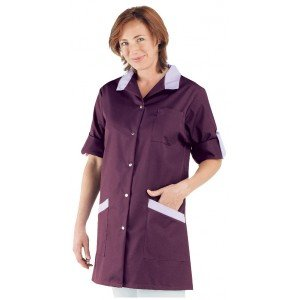 Blouse professionnelle travail blanche manches transformables femme - PROMO infirmier menage ecole bac pro - PRUNILLE/LILAS