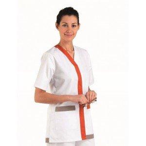 Tunique professionnelle travail blanche manches ¾ femme - PROMO infirmier auxiliaire vie foyer bac pro - BLANC/CORAIL