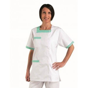Tunique professionnelle travail blanche manches courtes femme - PROMO aide domicile menage traiteur creche - BLANC/VERT