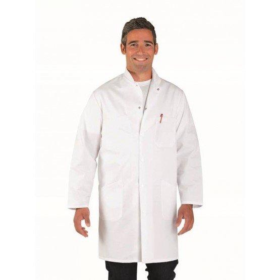 Blouse professionnelle travail blanche manches longues homme restauration infirmier restaurant medical - BLANC
