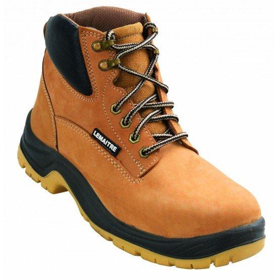 Chaussure haute securite S3 professionnelle travail cuir ISO EN 20345 S3 mixte artisan entretien chantier menage - CAMEL