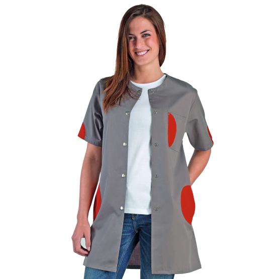 Lilou - Blouse à manches courtes pour femme en Polyester/Coton - PROMO - ZINC/CORAIL