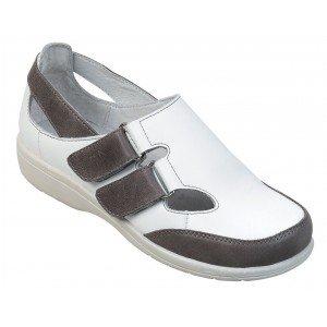 Chaussure professionnelle travail blanche cuir ISO EN 20347 femme - PROMO aide domicile menage coiffeur foyer - BLANC/GRIS