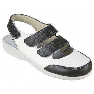 Chaussure professionnelle travail blanche cuir ISO EN 20347 femme - PROMO aide domicile entretien creche auxiliaire vie - BLANC/