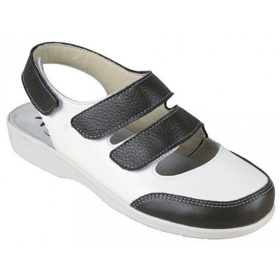 Chaussure professionnelle travail blanche cuir ISO EN 20347 femme - PROMO menage aide domicile entretien auxiliaire vie - BLANC/