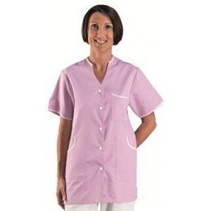 Tunique professionnelle travail blanche manches courtes femme - PROMO medical auxiliaire vie infirmier aide domicile - ORCHIDEE