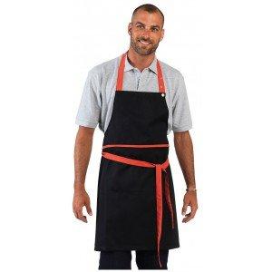 Tablier cuisine professionnel noir mixte serveur boucher ecole restaurant - NOIR/CORAIL