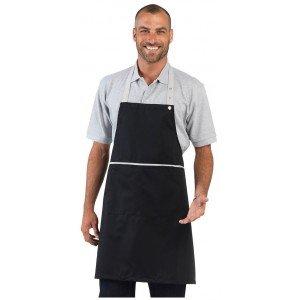 Tablier cuisine professionnel noir mixte hotel restaurant cuisine restauration - NOIR/CORAIL