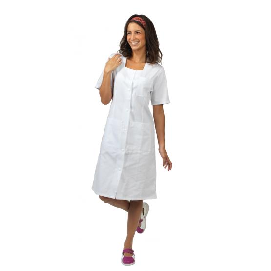 Blouse professionnelle travail blanche manches courtes 100% coton femme - PROMO menage estheticienne creche etudiant - BLANC