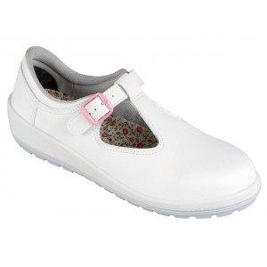 Chaussure securite professionnelle travail blanche noire cuir ISO EN 20345 S1P femme artisan menage chantier entretien - BLANC