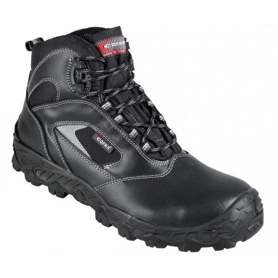 Chaussure haute securite professionnelle travail noire cuir ISO EN 20345 S3 homme chantier menage artisan entretien - NOIR