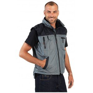 Gilet travail professionnel sans manches mixte - PROMO transport artisan manutention chantier - GRIS