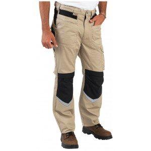 Pantalon travail professionnel homme logistique chantier manutention artisan - BEIGE/NOIR