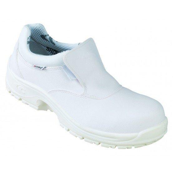 Chaussure cuisine securite professionnelle travail blanche noire ISO EN 20345 S2 mixte restaurant boulanger ecole etudiant - BLA