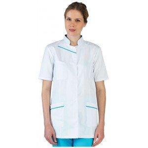 Tunique professionnelle travail blanche manches courtes femme - PROMO aide domicile medical auxiliaire vie infirmier - BLANC/ATO