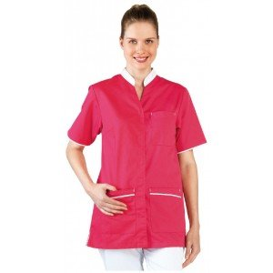 Tunique professionnelle travail blanche manches courtes femme - PROMO medical aide domicile infirmier auxiliaire vie - FUCHSIA/B