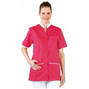 Tunique professionnelle travail blanche manches courtes femme - PROMO aide domicile infirmier auxiliaire vie medical - FUCHSIA/B