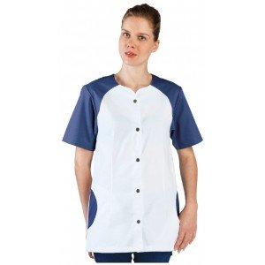 Tunique professionnelle travail blanche manches courtes femme - PROMO aide domicile infirmier auxiliaire vie medical - BLANC/COB