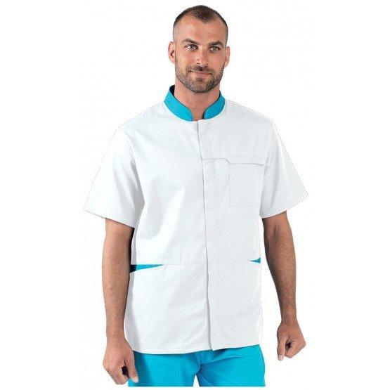 Tunique professionnelle travail blanche manches courtes mixte - PROMO aide domicile medical auxiliaire vie infirmier - BLANC/ATO