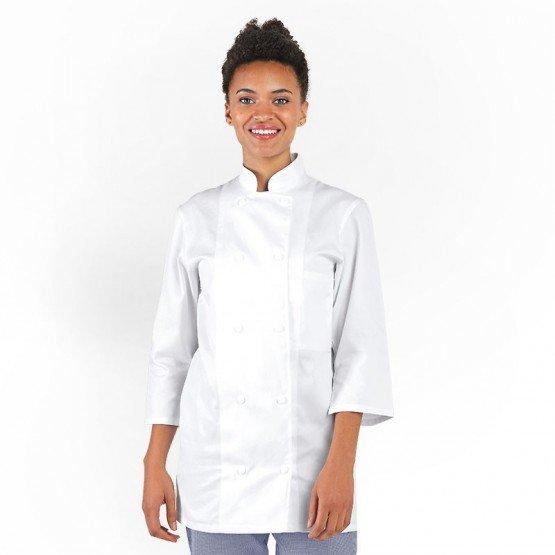Veste cuisine professionnelle travail manches ¾ 100% coton femme - PROMO restaurant cuisine restauration serveur - BLANC