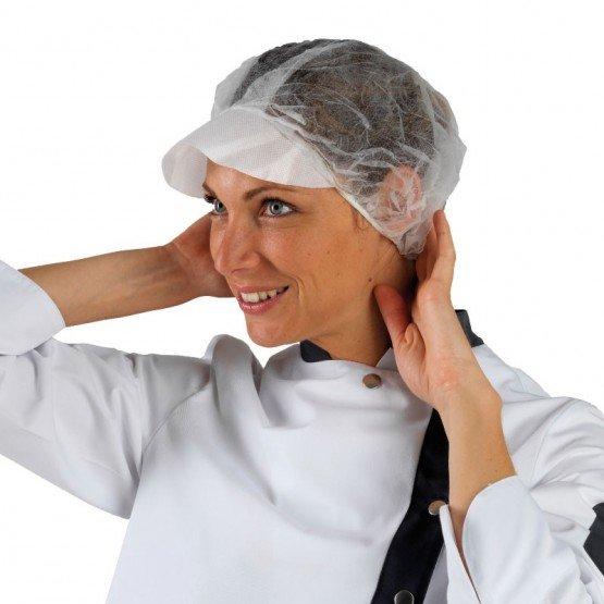 Charlotte visiere professionnelle travail Polypropylene hotel patissier ecole restauration - BLANC