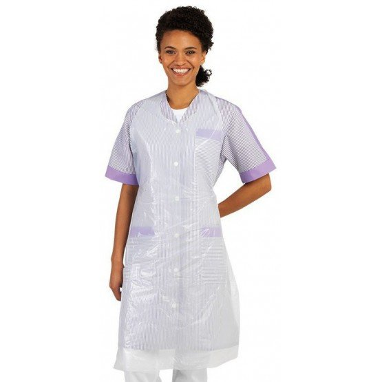 Tablier jetable cuisine professionnel blanc Polyethylene mixte menage infirmier entretien medical - BLANC