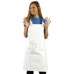 Tablier protection femme PVC cuisine professionnel blanc PVC femme infirmier cuisine internat etudiant - BLANC