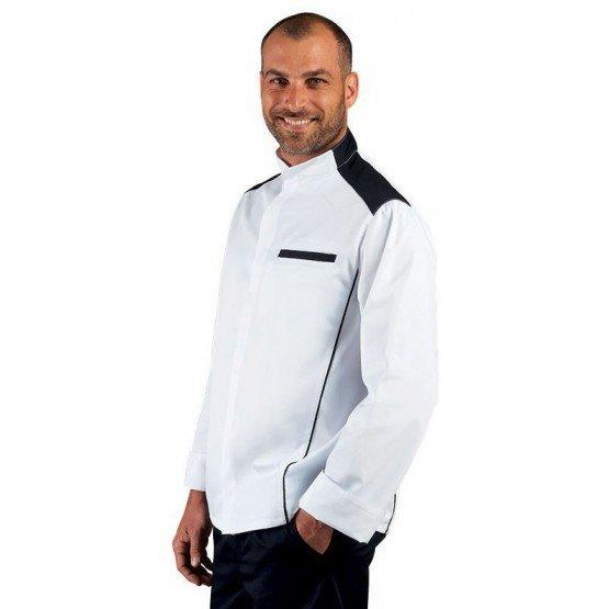 Veste cuisine professionnelle travail manches longues homme - PROMO restauration serveur restaurant cuisine - BLANC/NOIR