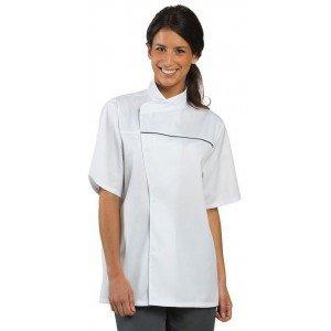 Veste cuisine professionnelle travail manches courtes mixte restaurant restauration serveur hotel - BLANC